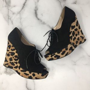 Prada Black Open Toe Wedges Cheetah Print 38.5